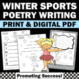 Types of Poetry Unit for 6th Grade, Winter Sports Theme, Print and Go