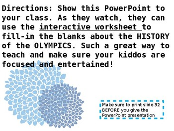 Olympics PowerPoint WITH Interactice Worksheet ( 2018 )