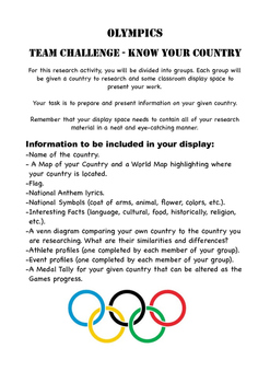 Olympics Research Task