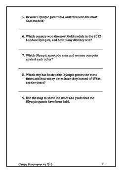 Olympics Rio 2016 Short Answer