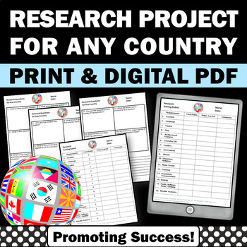 Country Research Project & Rubric, Social Studies Project, Country Report