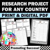Country Research Project Distance Learning Digital & Printables Country Report