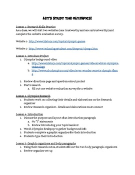Olympics Sports Writing Unit Lesson Plans