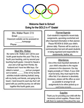 Olympics Themed Back to School Newsletter