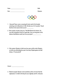 Olympics-Themed Math Word Problems