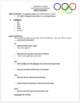 Olympics - Simple Sentences Review - Powerpoint Review & Game, Notes, & Quiz