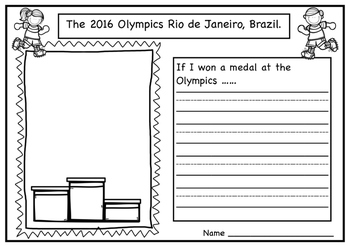 Olympics a Writing Activity.