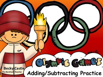 Olympics or Sports Adding/Subtracting Sheets (10) w/ manipulative pieces