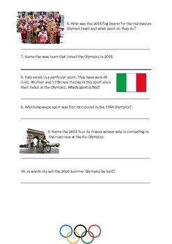 Olympics quiz - research activty