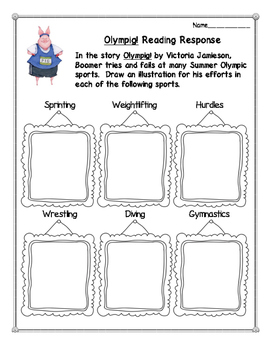 Olympig! Reading Response Activities