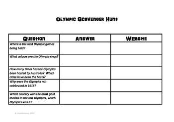 Olympic Scavenger Hunt