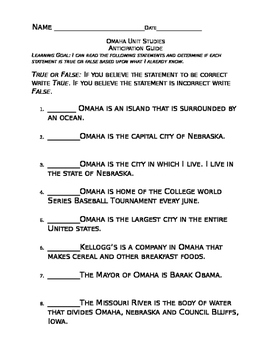 Omaha Studies Unit Anticipation Guide