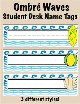 Ombré Waves Student Desk Name Tags
