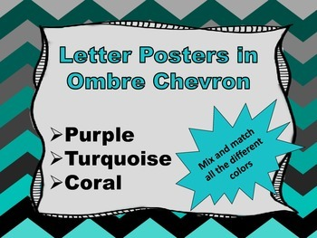 Ombre Chevron Alphabet Posters