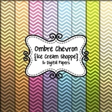 Ombre Chevron Digital Background Paper for Commercial Use