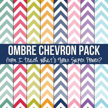 Ombre Chevron Digital Paper Pack Tpt