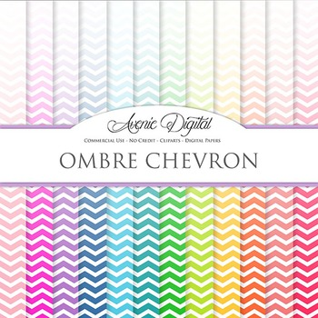 Ombre Chevron Digital Paper patterns block colors gradient scrapbook background