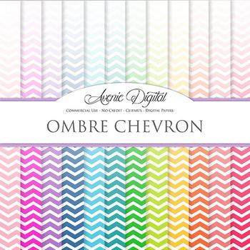 Ombre Chevron Digital Paper patterns block colors gradient
