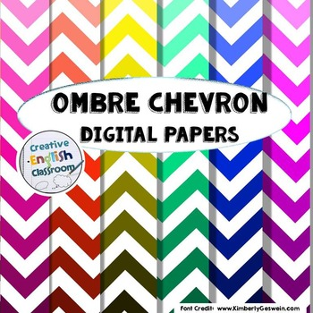 Ombre Chevron Digital Papers