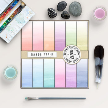 Ombre Digital Paper - Watercolor Backgrounds