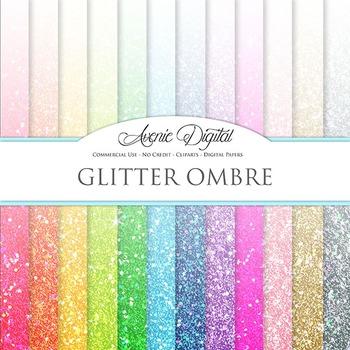 Ombre Glitter Digital Paper patterns sparkle gradient scrapbook background