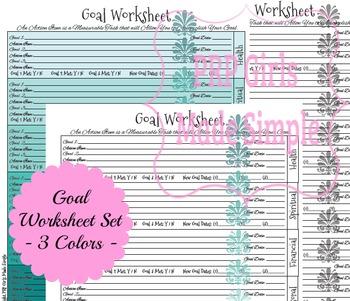 Goals Worksheet OMBRE - 3 Colors!