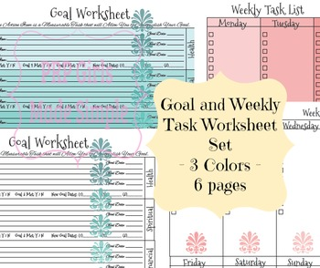 Ombre Goals and Weekly Task Printables Kit - 2 Worksheets - 3 Colors - 6 pages!