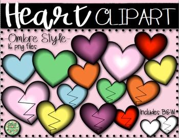Ombre Heart and Broken Heart Clip Art