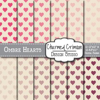 Ombre Hearts Digital Paper 1110