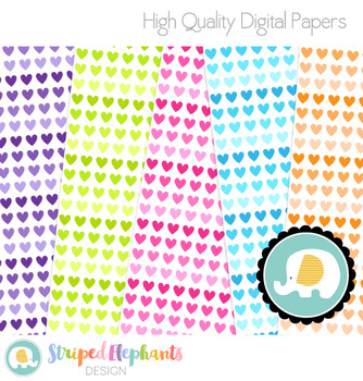 Ombre Hearts Digital Papers