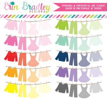 Ombre Laundry Line Clipart Bunting