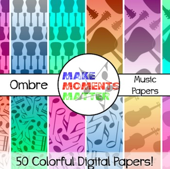 Ombre Music Papers  --  A Digital Paper Pack!