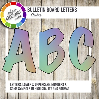 Bulletin Board Letters Ombre Pastel Pattern Printable Classroom decor