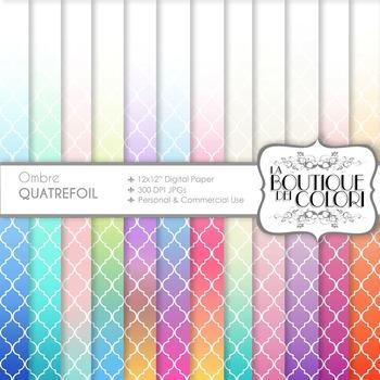 Ombre Quatrefoil Digital Paper, scrapbook backgrounds
