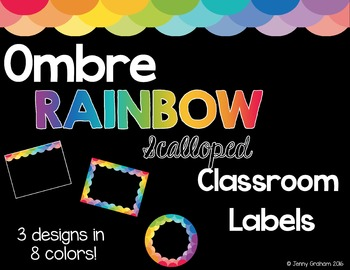 Ombre RAINBOW Scalloped Classroom Labels - Editable!