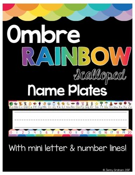 Ombre RAINBOW Scalloped Name Plates/Name Tags