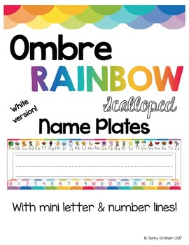 Ombre RAINBOW Scalloped Name Plates/Name Tags WHITE Version!