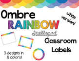 Ombre RAINBOW Scalloped White Classroom Labels - Editable!