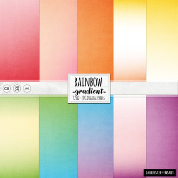 Ombre Rainbow Digital Papers, Colourful Gradient Backgrounds, Digital Cardstock