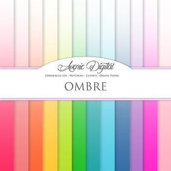 Ombre Solid Digital Paper patterns block colors gradient scrapbook background