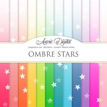 Ombre Stars Digital Paper star patterns block gradient scrapbook background