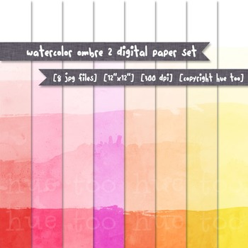 Ombre Watercolor Digital Papers: Red, Pink, Orange, and Yellow Dip Dye