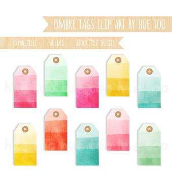 Ombre Watercolor Tags Clip Art, Label Clip Art, Pink, Yellow, Blue, Orange