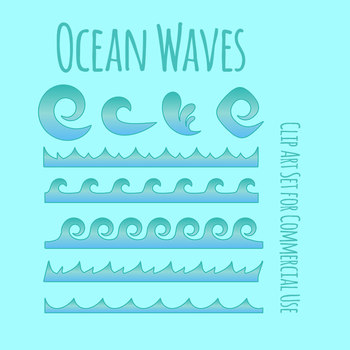 Ombre Waves Clip Art for Commercial Use