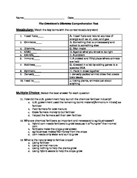 Omnivore's Dilemma comprehension quiz Chapters 1-11