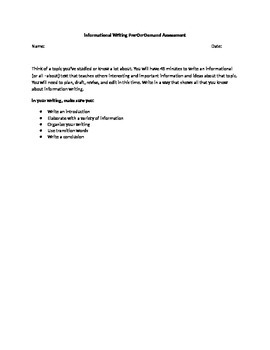 On Demand Assessment for Informational Writing