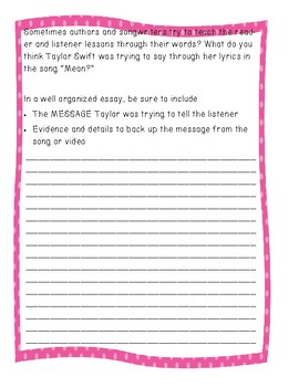 """On Demand Reader Response Essay For Taylor Swift's song """"Mean"""" (theme/lesson)"""