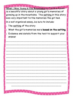 On Demand Reader Response Essay for When I Was Young in the Mountains (Setting)