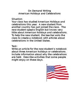On Demand Writing American Holidays
