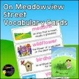 On Meadowview Street Vocabulary Cards (Unit 6 Module A ReadyGen Grade 2)